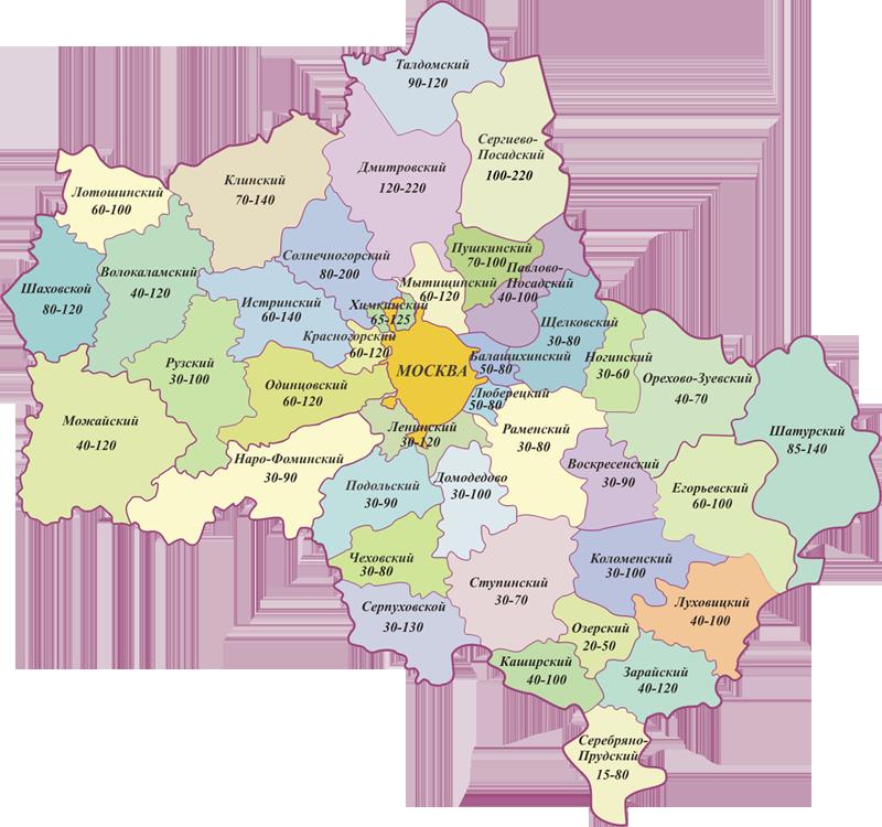 Карта глубины бурения в Московской области